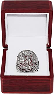 UNIVERSITY OF ALABAMA CRIMSON TIDE (A.J. McCarron) 2012 BCS NATIONAL CHAMPIONS (Back to Back Wins) Collectible High-Quality Replica Silver Football Championship Ring with Cherrywood Display Box