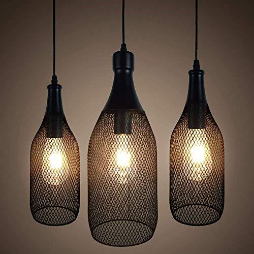 G-D Hanglamp Industriële Holle Mesh Lampenkappen Kroonluchter Fles Metaal Zwart Plafond Lamp Loft Retro E27 Decoratief Zwart