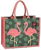 Umweltfreundliche Jute-Einkaufstasche mit Zwickel (Flamingo)