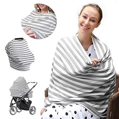 Phiraggit Manta de lactancia,Cubierta para asiento de coche todo 4 en 1,Multiusos algodón enfermería lactancia materna carrito de la compra cubierta Swaddle Manta para bebés recién nacidos Niños