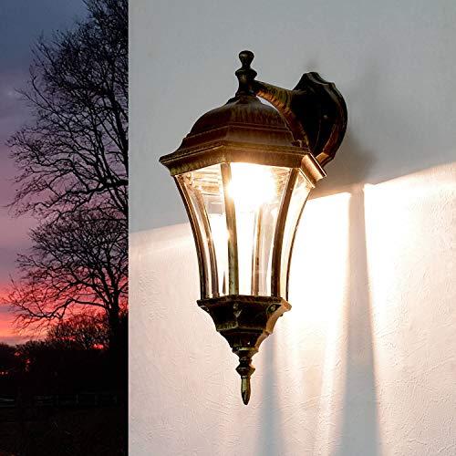 Rustikale Wandlampe außen Gold Antik WARSCHAU E27 H:44cm Aluminium Glas Balkon Hof Garten Beleuchtung