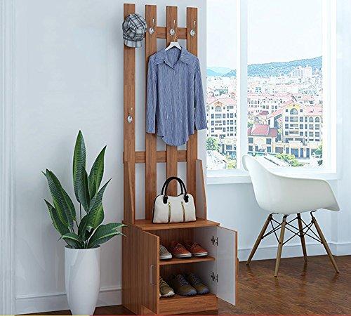 JPVGIA Multifuncional de Entrada de Madera Mueble recibidor, armarios, Ropa de Piso Polvo, combinación del gabinete del Zapato Perchas (Color : Dark Wood Color)
