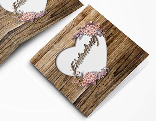 Rustikale Hochzeitskarte – Einladungskarte in Holz-Optik – Vintage Blumen Einladung für deine Hochzeit – Hochzeitseinladungskarte mit Druck und deinem Bild (50)
