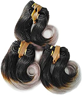 XMH Best 6 inch Short Human Hair Weave Ombre Gray Brazilian Wavy Hair Extensions 3Sets 150Gram For Full Head Two Tone Color Black to Grey Brazilian Virgin Remy Hair Bundles