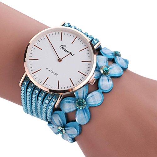 Xinantime Relojes Pulsera Mujer,Xinan Flores Reloj de Cuarzo Brillante (Azul Claro)