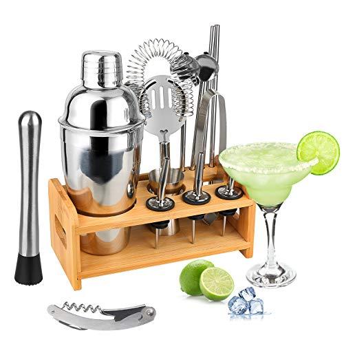Hossejoy Juego de coctelera de acero inoxidable, juego de coctelera de 14 piezas con mejor soporte de bambú, vaso medidor y cuchara de bar, 550 ml, set de regalo para el hogar o el bar