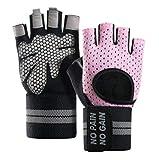 KletterhandschuheFitnesshandschuhe Halbfinger Sport Handgelenk Übung rutschfeste Hantel-S Wristband rosa Trainingshandschuhe