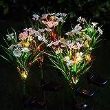 Mobestech 2 Piezas Luces de Flores Solares Simulación Flor de Margarita Luces de Estaca de Jardín Solar Al Aire Libre Paisaje Decorativo Lámpara de Césped para Patio Patio Jardín