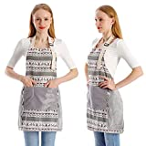 Koorhiere 2 Pack Adjustable Cooking Kitchen Apron, Apron 2 Pockets Cotton Linen, Chef Apron Gift Unisex Christmas BBQ Crafting Drawing Outdoors