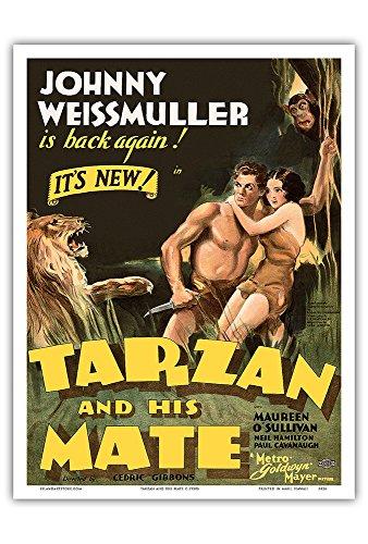 Tarzan and His Mate - Starring Johnny Weissmuller, Maureen O'Sullivan - Edgar Rice Burroughs - Metro Goldwyn Mayer - Vintage Film Movie Poster c.1930s - Master Art Print - 9in x 12in