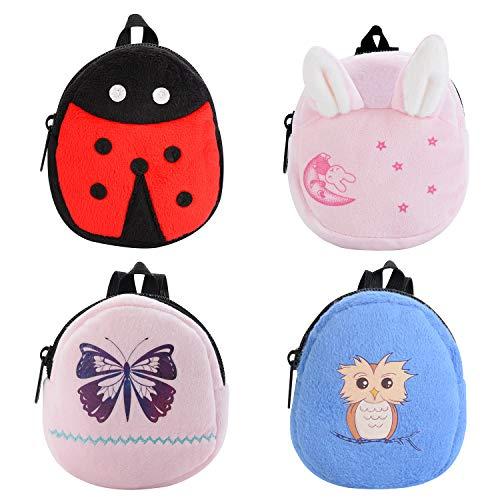 Bageek 4PCS Doll Backpack Cartoon Mini Doll Bag Doll Play Accessories for 18'' Dolls