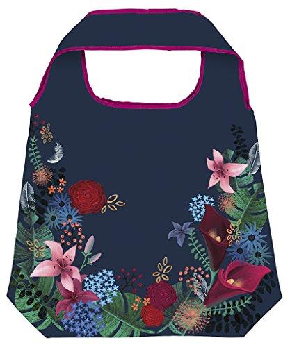 moses. Shopper Dark Flower | Faltbare Einkaufstasche | umweltfreundlich, wiederverwendbar