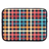 Laptop Messenger Colorful Checkered Gingham Plaid Fabric Seamless Handbag Laptop Bag Compatible 13-13.3 inch MacBook Air Pro 13 inch
