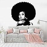 wZUN Explosion Cheveux Accessoires Stickers muraux Salon Art décoration Fille Africaine Vinyle Stickers muraux Salon de beauté décoration de la Maison créative 42X42 cm