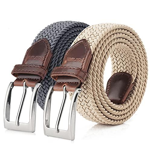 Men's Stretchy Belts 2 Pack, Unisex Gift Elastic Braided Stretch Belt 1 3/8' Width Casual Golf Shorts Jeans Belts for Men