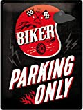 Nostalgic-Art Cartel de Chapa Retro Biker Parking Only – Idea de Regalo para los Aficionados a Las Motos, metálico, Diseño Vintage, 30 x 40 cm