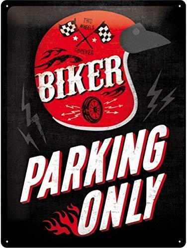 Nostalgic-Art Retro Blechschild, Biker Parking Only – Helmet – Geschenk-Idee für Motorrad-Fans, aus Metall, Vintage-Design zur Dekoration, 30 x 40 cm