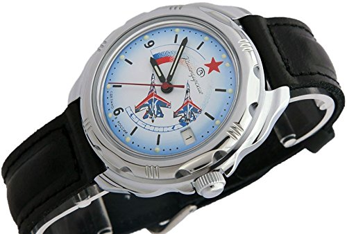 Vostok KOMANDIRSKIE Militar ruso Comandante de Aviación fuerza aérea Ministerio caso reloj blanco 2414/211066