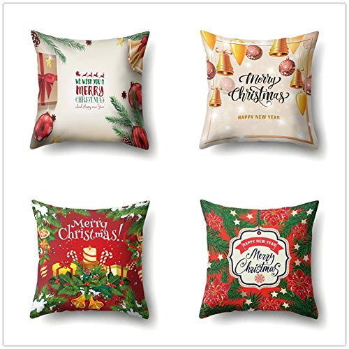 QPY Throw Pillow Case Cushion Covers Christmas Cotton Linen Decorative Square Pillowcases for Sofa Bedroom with Lnvisible Zipper Car Home Decor Set of 4 Pillowcase 50x50cm(20x20inch) A585