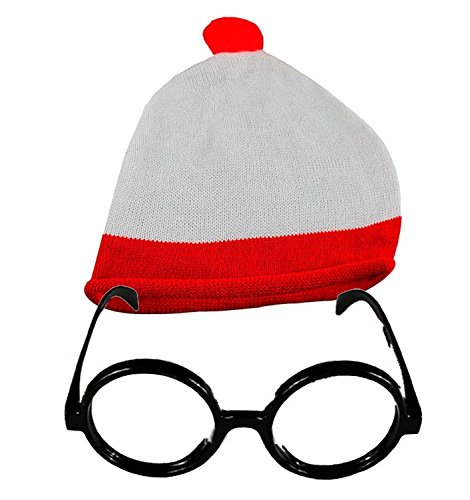Unisex rood/wit Bobble Hat & Glasses thema Party No Lens Glasses Book Week