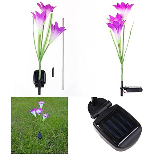 Brccee AC Solar Power Purple Lily Flower RGB Color Change LED Light Garden Yard Lamp