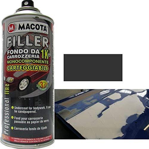 TRS MACOTA FILLER FONDO RIEMPITIVO DA CARROZZERIA 1K GRIGIO SCURO 400 ML VERNICE SPRAY MONOCOMPONENTE CARTEGGIABILE AUTO MOTO CAMPER PROFESSIONALE CARROZZIERE