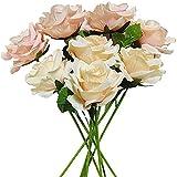 Yyhmkb Sprif Artificial Rose Flores Falsas 8 Piezas Flores De Seda Arreglo De Rosas para El Hogar Fiesta De Bodas Nupcial Festival Decoración Rosa Champagne
