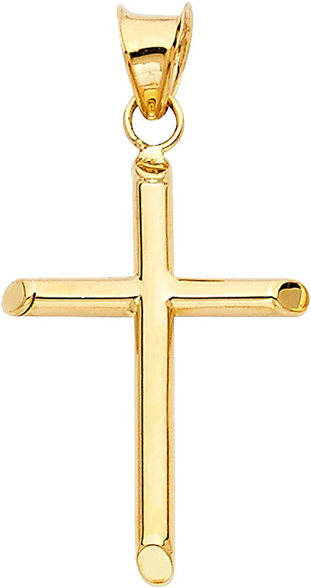 14K Yellow Gold Cross Pendant Charm Selling Holy Classic - Free shipping on posting reviews