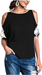 MK988 Women's Short Sleeve Cold Shoulder Lace Stitching T-Shirt Top T-Shirt Blouse