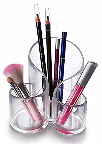 CINEEN Rangement Maquillage Pinceaux Acrylique Transparent 3 Fente Organisateur pour Pinceaux Brosse Boîte de rangement
