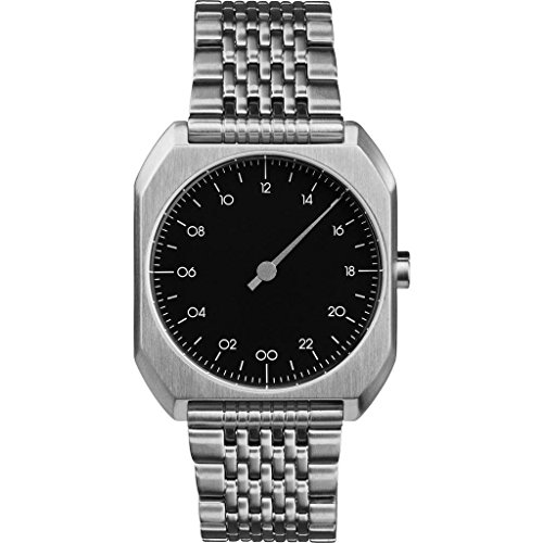 slow MO 02 – alle Silber Stahl schwarz Zifferblatt Unisex Quarzuhr mit schwarzem Zifferblatt Analog-Anzeige und Silber Edelstahl Armband