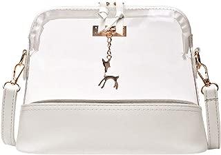 Waymine Women's Transparent Shoulder Bag Crossbody Bag Fawn Pendant Shell Phone Solid Messenger Bag