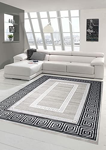 Traum Alfombra Diseñador de alfombras Alfombra del Cuarto de Estar contemporánea con el Ornamento Frontera Gris Crema Negro Größe 200 x 290 cm
