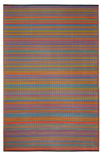 Fab Habitat Reversible Rugs   Indoor or Outdoor Use   Stain Resistant, Easy to Clean Weather Resistant Floor Mats   Cancun - Multicolor, 6' x 9'