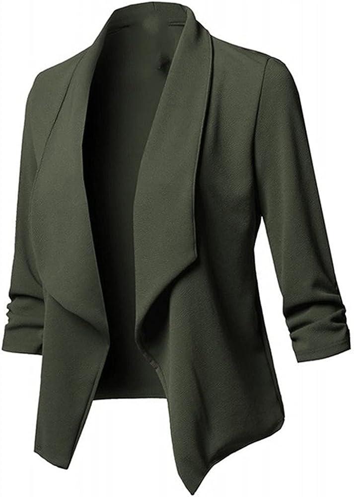 Mujeres Negro Blazers Abrigo de manga larga Mujer Blazers Chaquetas Fruncido