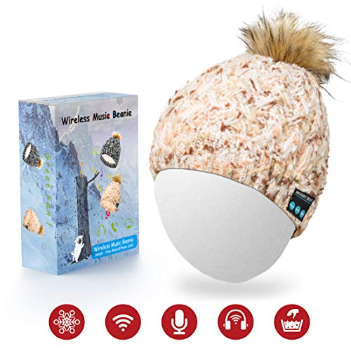 Bluetooth Hat for Women,Sunnywoo Wireless Bluetooth Beanie Musical hat with Stereo Speaker and MIC 4 Hours Working Time for Outdoor Sports,Built-in Mic