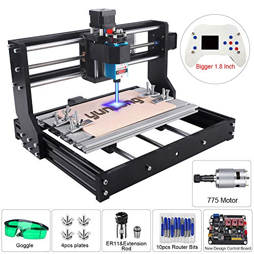 5.5W Laser Engraver CNC 3018 Pro Engraving Machine, XYZ Working Area 11.8x7.1x1.8inch, GRBL PCB PVC Wood Router CNC 3 Axis Milling Machine with Offline Controller (CNC 3018 Pro, 5500mW Laser Module)