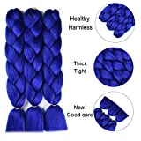 SuCoo Jumbo Braiding Hair Extension Synthetic Kanekalon High Temperature Fiber Crochet Twist Braids Hair With Small Free Gifts 24inch 3pcs/lot£¨Royal Blue)