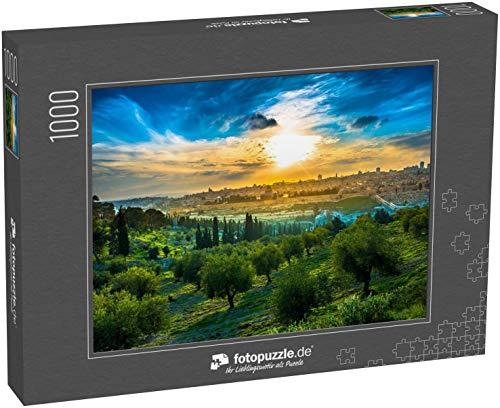 fotopuzzle.de Puzzle 1000 Teile Blick auf die Altstadt Jerusalems vom Ölberg aus mit Olivenbäumen im Vordergrund (1000, 200 oder 2000 Teile)