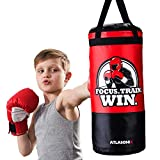 Hanging Kids Punching Bag for Ceiling / Wall 2 Ft, Unfilled   Professional Style Youth Punch Bag   Training in Martial Arts / Boxing / Karate for Boys or Girls Age 5 - 15   Gloves Not Included
