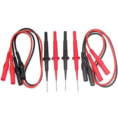 Aidetek Sharp Stainless Steel Needle Tipped Tip Multimeter Probes Test Leads 4 Fluke Tester 600v 1a 4mm Socket + Banana Plug Test Leads Red Black