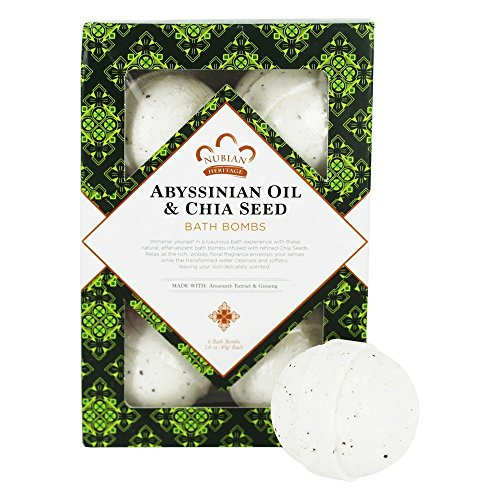 Nubian Heritage Abyssinian Oil and Chia Seed Bath Bombs for Unisex 6 x 1.6 oz Bath Bombs 6 Unités