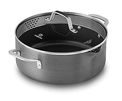 """Calphalon Classic Nonstick Jumbo Fryer Omelet Pan with Cover, 12"""", Grey"""