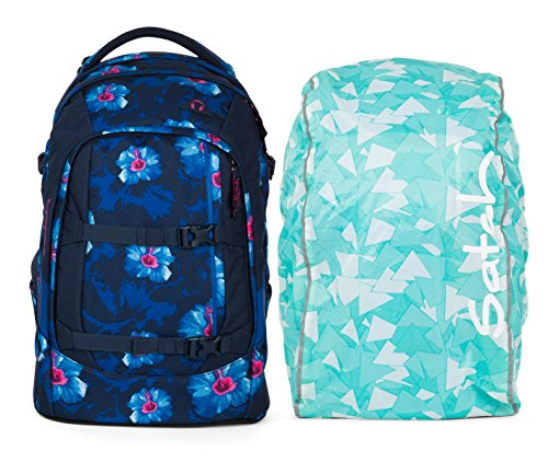 Satch by ergobag Pack Schulrucksack Waikiki Blue inklusive Regencape (Mint)