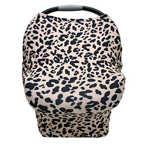 Nursing Cover Carseat Canopy-Multi-USE Soft Stretchy Car Seat Covers for Nursing Scarf, Breast Feeding, High Chair, Shopping Cart Cover, Park Swing, Changing Table Cover-Girl or Baby Boy-Cheetah Print