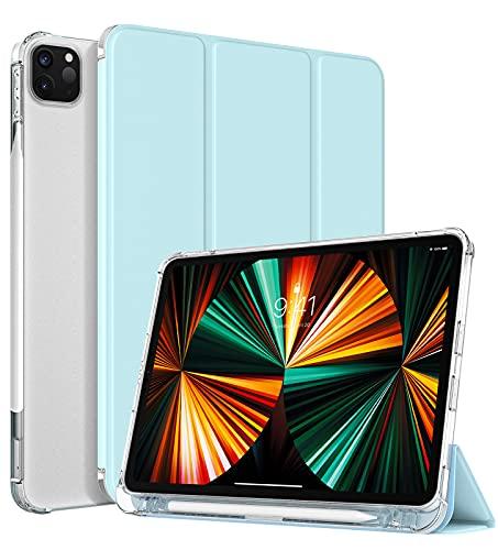 """TiMOVO Custodia Compatibile con New iPad PRO 12.9 inch 2021 (5th Gen), Cover Tablet in TPU con Supporto Porta Penna Auto Svegliati Sonno Ultra Sottile per iPad PRO 12.9"""" 2021 - Cielo Blu"""