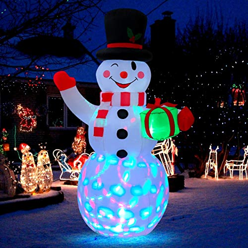 MAOYUE Christmas Inflatables 5ft Christmas Decorations Outdoor Inflatable Snowman Blow up Christmas Decorations Built-in Colorful Lights with Tethers, Stakes for Outdoor, Yard, Garden, Lawn