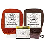 Natural Elephant Moroccan Black Soap 200g (7oz) and 2 Pack Exfoliating Hammam Glove Combo (Brown and Orange)