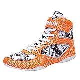 Hombres Mujeres Zapatos De Boxeo Ligero Anti Skid Fitness Sneakers Tampón Transpirable para Gimnasio Squat Wrestling,Naranja,39 EU