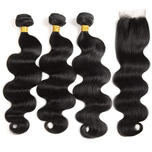 Body Wave Brazilian Hair Weave Bundles With Closure 24 22 20+20, 9A Indian Body Wave Human Hair Bundles With Closure (Natural Black,20 22 24+20)